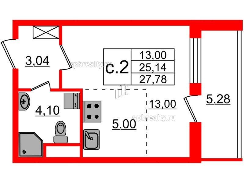 Планировка Студия площадью 25.14 кв.м в ЖК «Чистое небо»