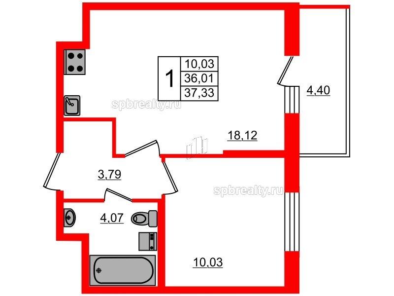 Планировка Однокомнатная квартира площадью 36.01 кв.м в ЖК «Чистое небо»
