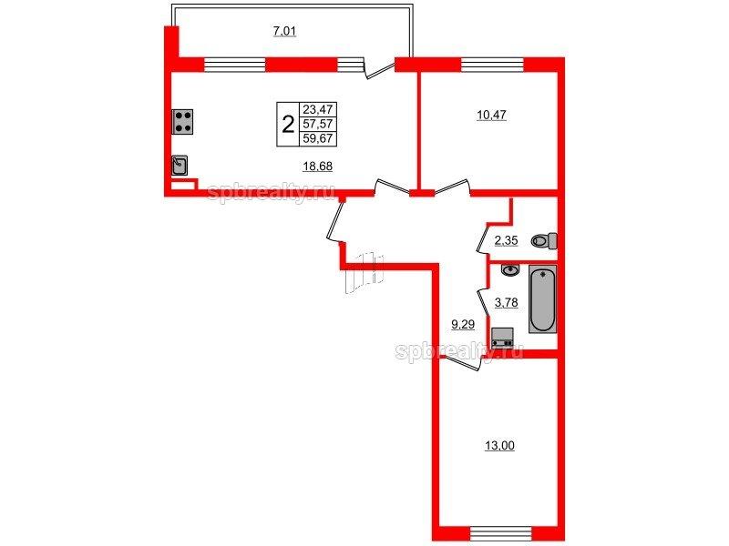 Планировка Двухкомнатная квартира площадью 57.57 кв.м в ЖК «Чистое небо»