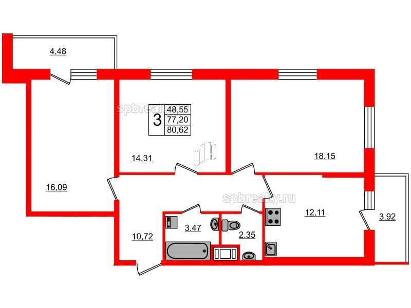 Планировка Трёхкомнатная квартира площадью 77.2 кв.м в ЖК «Чистое небо»