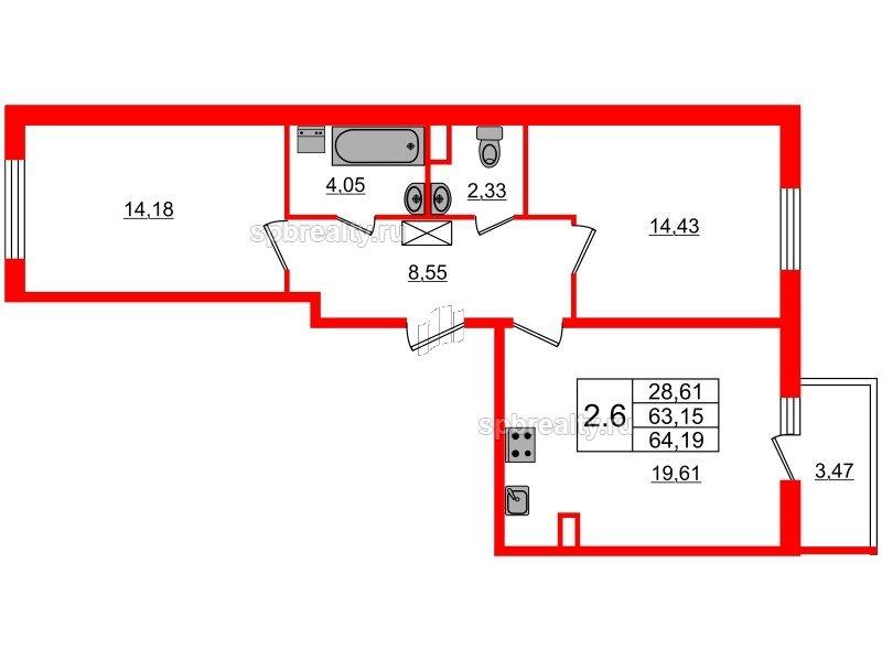 Планировка Двухкомнатная квартира площадью 63.15 кв.м в ЖК «Чистое небо»