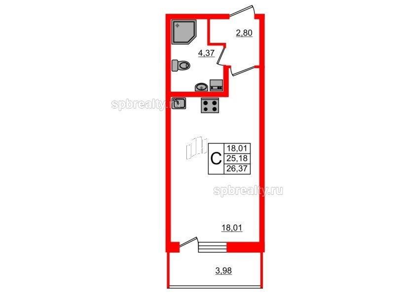Планировка Двухкомнатная квартира площадью 57.59 кв.м в ЖК «Чистое небо»
