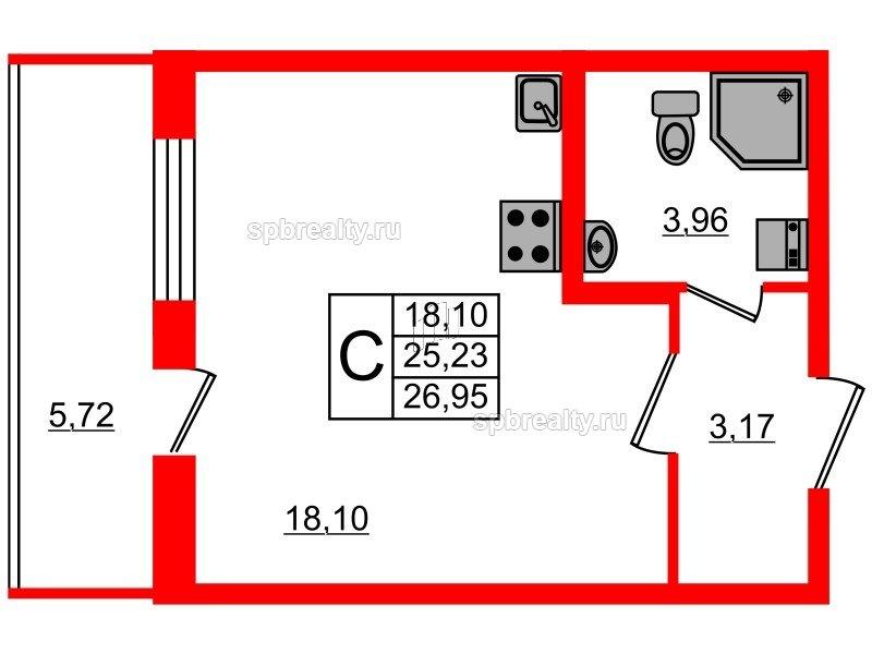 Планировка Студия площадью 25.23 кв.м в ЖК «Чистое небо»