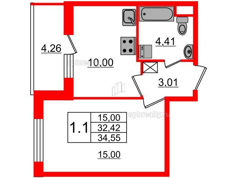 Планировка Однокомнатная квартира площадью 32.42 кв.м в ЖК «Чистое небо»