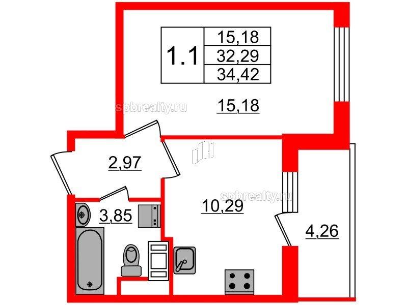 Планировка Однокомнатная квартира площадью 32.29 кв.м в ЖК «Чистое небо»