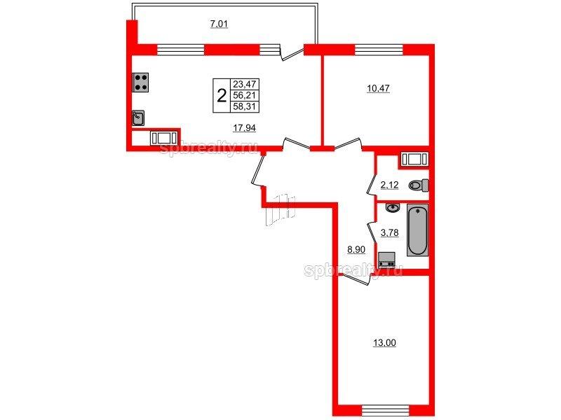 Планировка Двухкомнатная квартира площадью 56.21 кв.м в ЖК «Чистое небо»