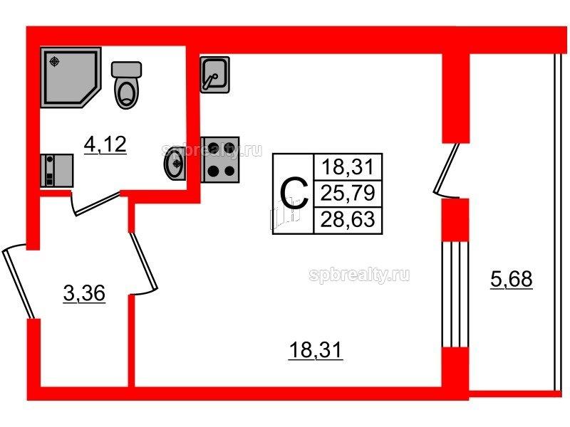 Планировка Студия площадью 25.79 кв.м в ЖК «Чистое небо»
