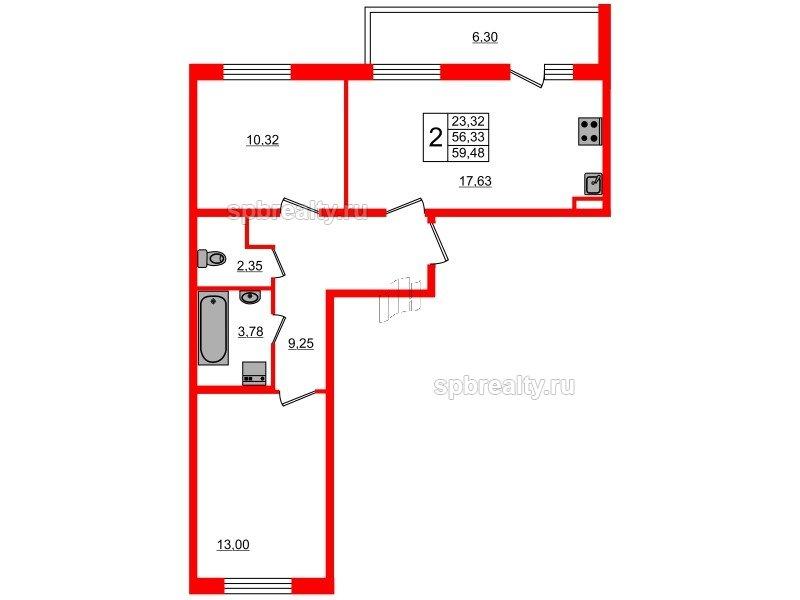 Планировка Двухкомнатная квартира площадью 56.33 кв.м в ЖК «Чистое небо»