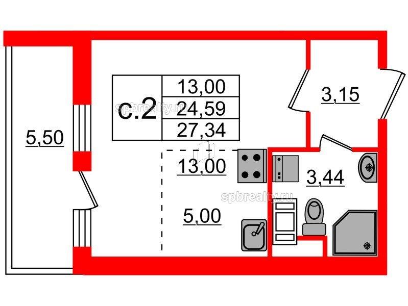 Планировка Студия площадью 24.59 кв.м в ЖК «Чистое небо»