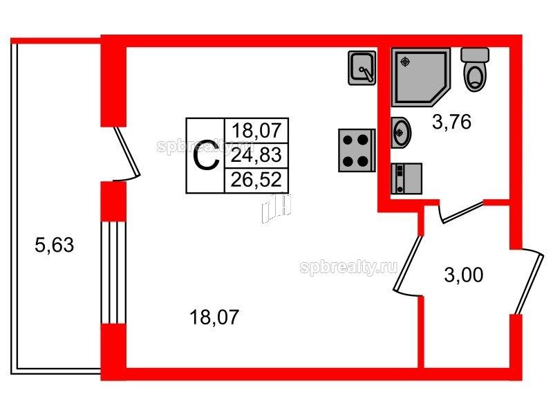 Планировка Студия площадью 24.83 кв.м в ЖК «Чистое небо»