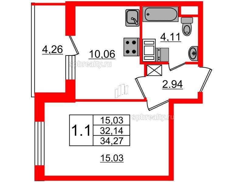 Планировка Однокомнатная квартира площадью 32.14 кв.м в ЖК «Чистое небо»