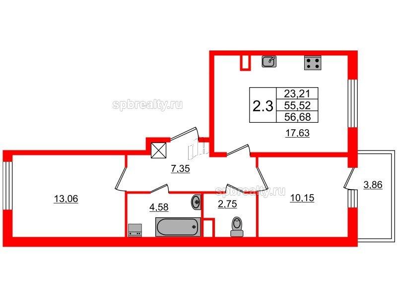 Планировка Двухкомнатная квартира площадью 55.52 кв.м в ЖК «Чистое небо»