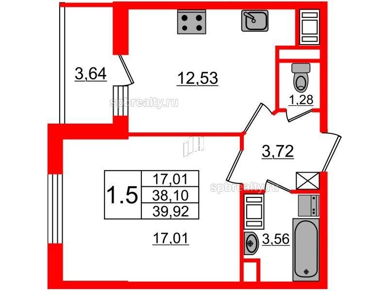 Планировка Однокомнатная квартира площадью 38.1 кв.м в ЖК «Чистое небо»