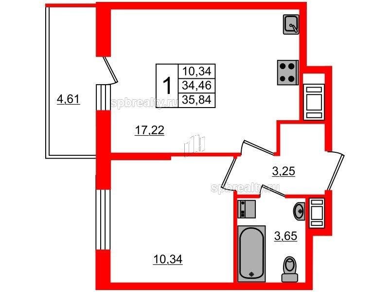 Планировка Однокомнатная квартира площадью 34.46 кв.м в ЖК «Чистое небо»