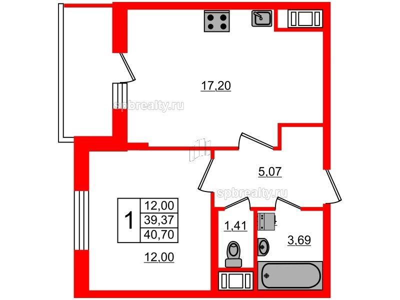 Планировка Однокомнатная квартира площадью 39.37 кв.м в ЖК «Чистое небо»