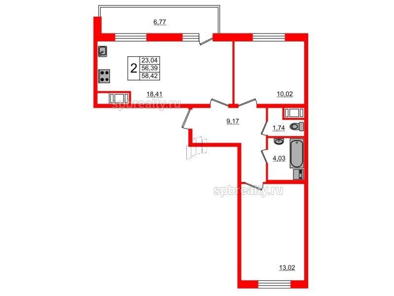 Планировка Двухкомнатная квартира площадью 56.39 кв.м в ЖК «Чистое небо»
