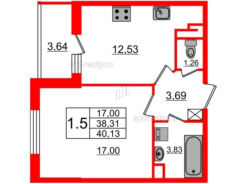 Планировка Однокомнатная квартира площадью 38.31 кв.м в ЖК «Чистое небо»