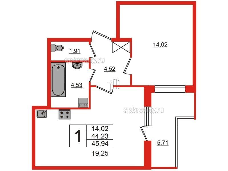 Планировка Однокомнатная квартира площадью 44.23 кв.м в ЖК «Чистое небо»