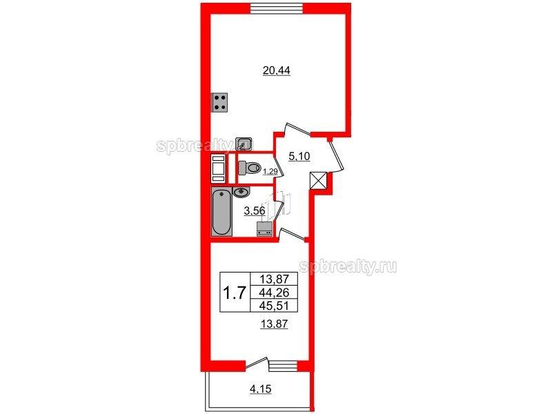 Планировка Однокомнатная квартира площадью 44.26 кв.м в ЖК «Чистое небо»