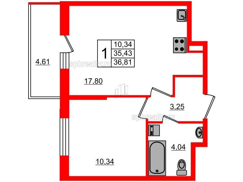 Планировка Однокомнатная квартира площадью 35.43 кв.м в ЖК «Чистое небо»