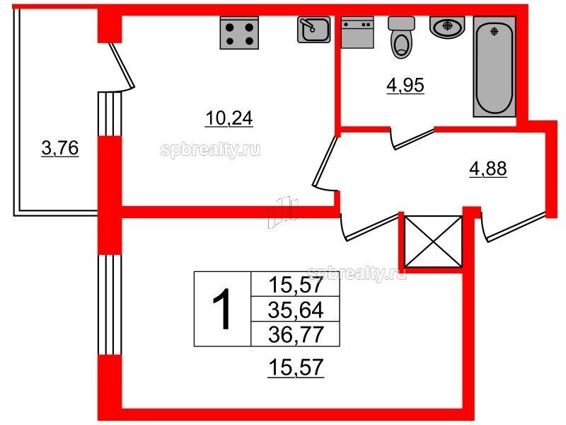 Планировка Однокомнатная квартира площадью 35.64 кв.м в ЖК «Чистое небо»