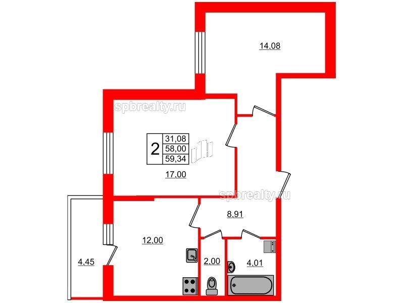 Планировка Двухкомнатная квартира площадью 58 кв.м в ЖК «Чистое небо»