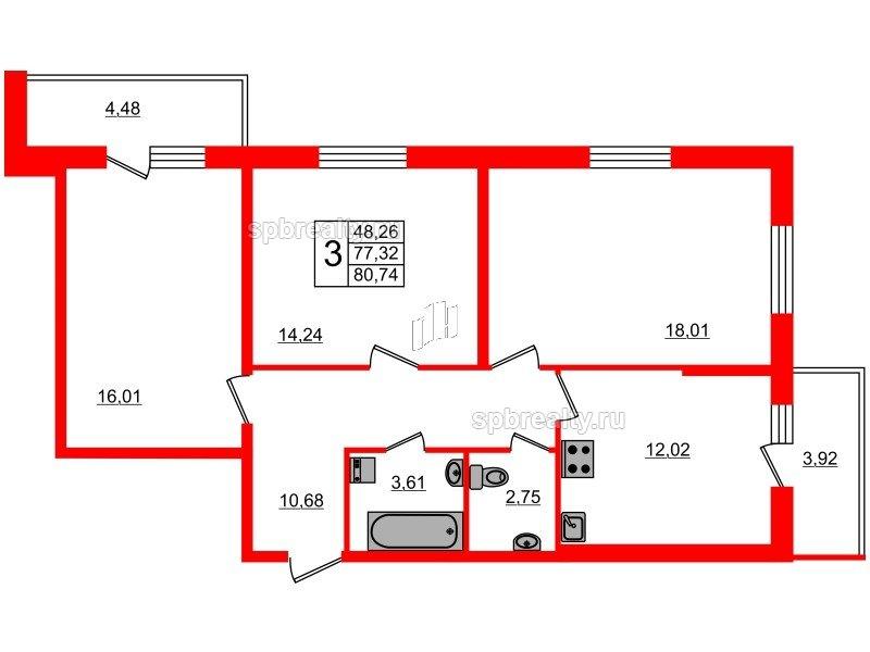 Планировка Трёхкомнатная квартира площадью 77.32 кв.м в ЖК «Чистое небо»