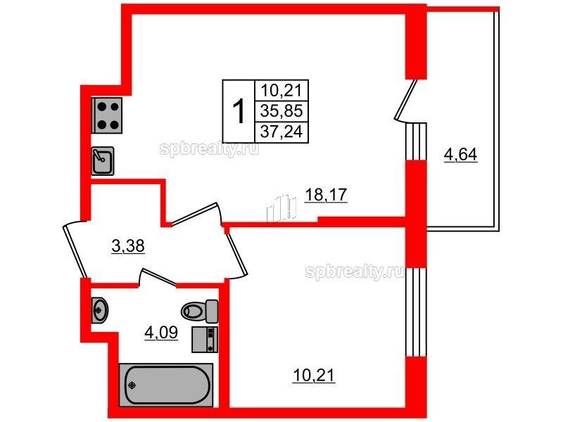 Планировка Однокомнатная квартира площадью 35.85 кв.м в ЖК «Чистое небо»