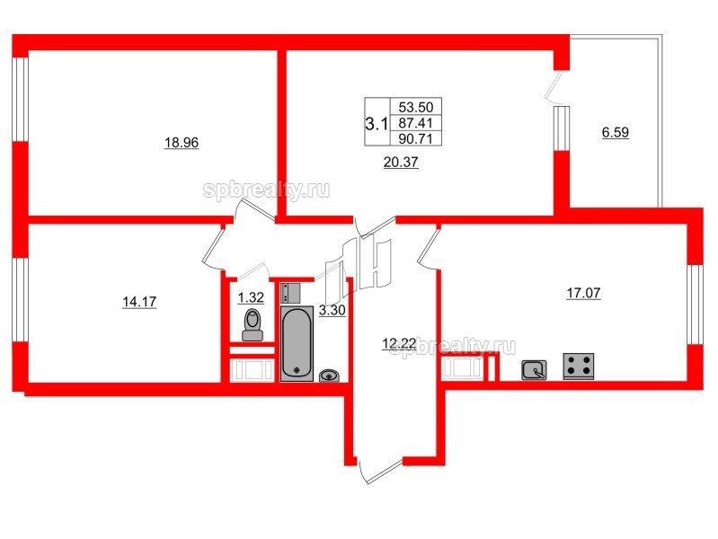 Планировка Трёхкомнатная квартира площадью 87.41 кв.м в ЖК «Чистое небо»