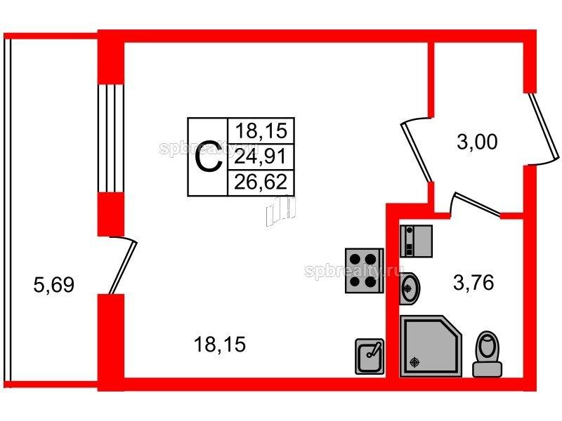 Планировка Студия площадью 24.91 кв.м в ЖК «Чистое небо»