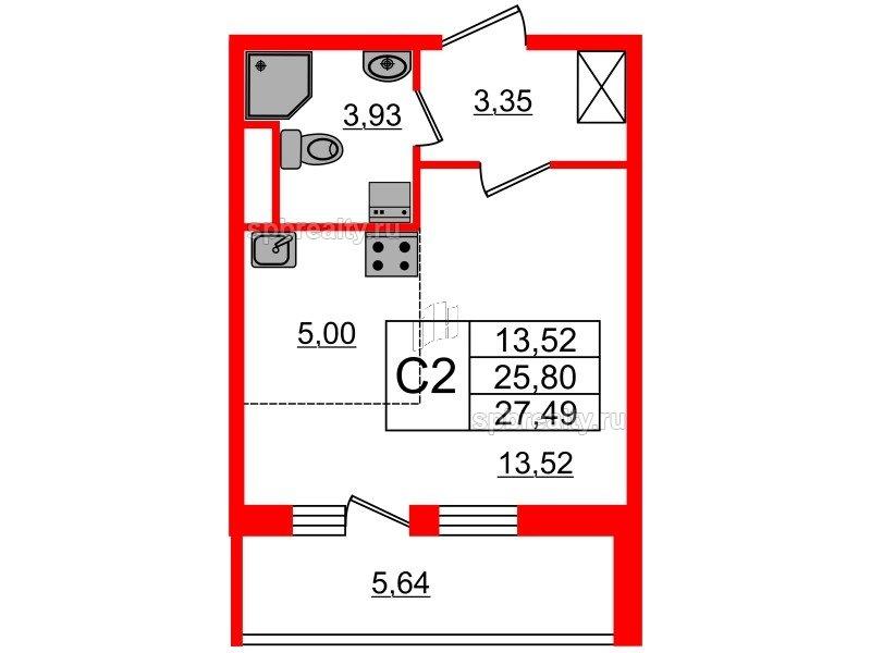 Планировка Студия площадью 25.8 кв.м в ЖК «Чистое небо»
